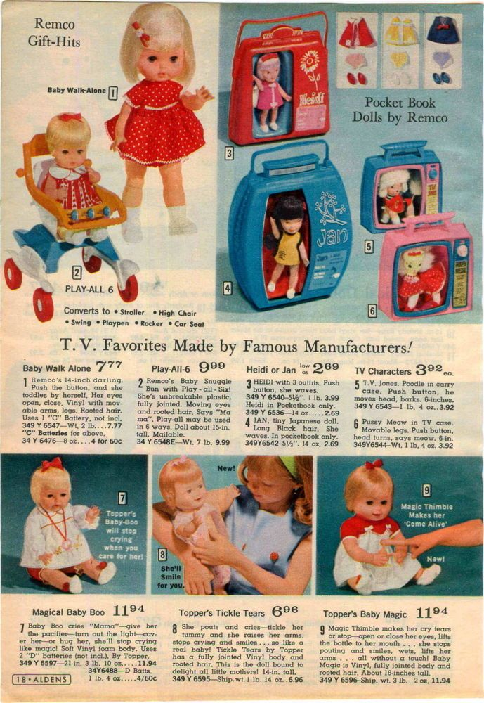 1966 Advertisement Remco Topper Doll Pocket Book Heidi Jan Tickle Tears Baby Boo Retro Toys Toy Catalogs Vintage Toys