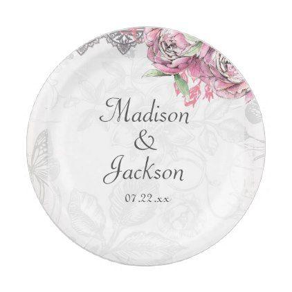 Romantic Chic Peony Floral u0026 Lace Wedding Monogram Paper Plate  sc 1 st  Pinterest & Romantic Chic Peony Floral u0026 Lace Wedding Monogram Paper Plate ...