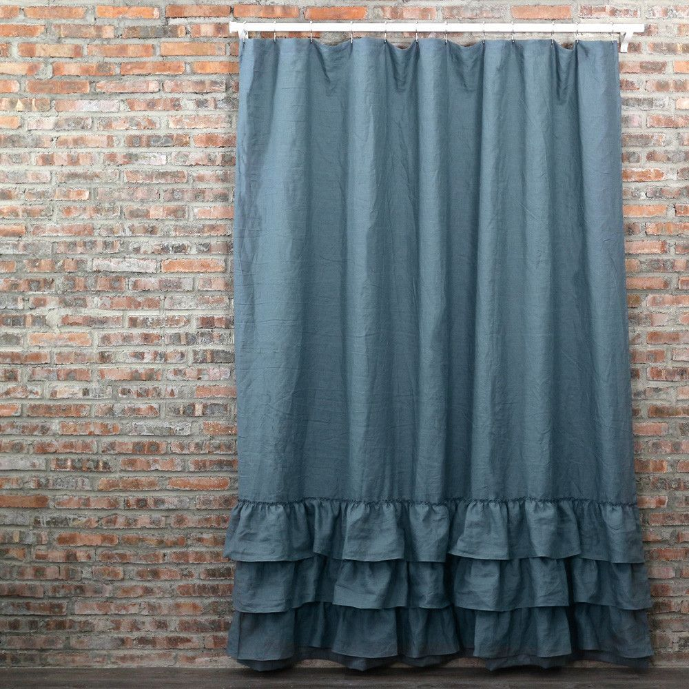 Linen Ruffles Shower Curtain | Ruffle shower curtains, Linens and ...