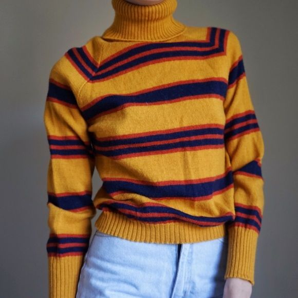 Vintage Striped Wool Turtleneck Sweater 100 In Mustard Yellow Navy Blue And Red Excellent Condition