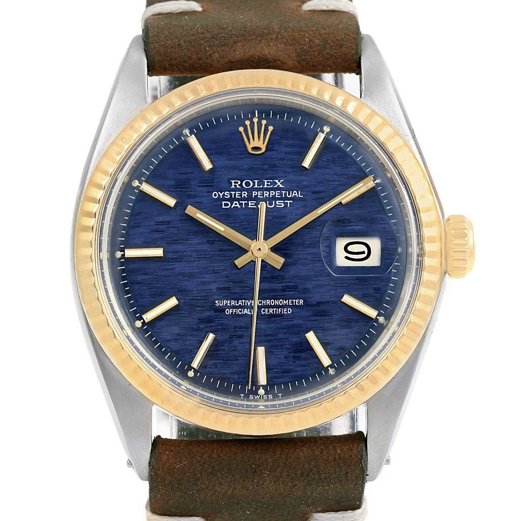 15753 Rolex Datejust Steel Yellow Gold Mozaic Dial Vintage Mens Watch 1601 SwissWatchExpo