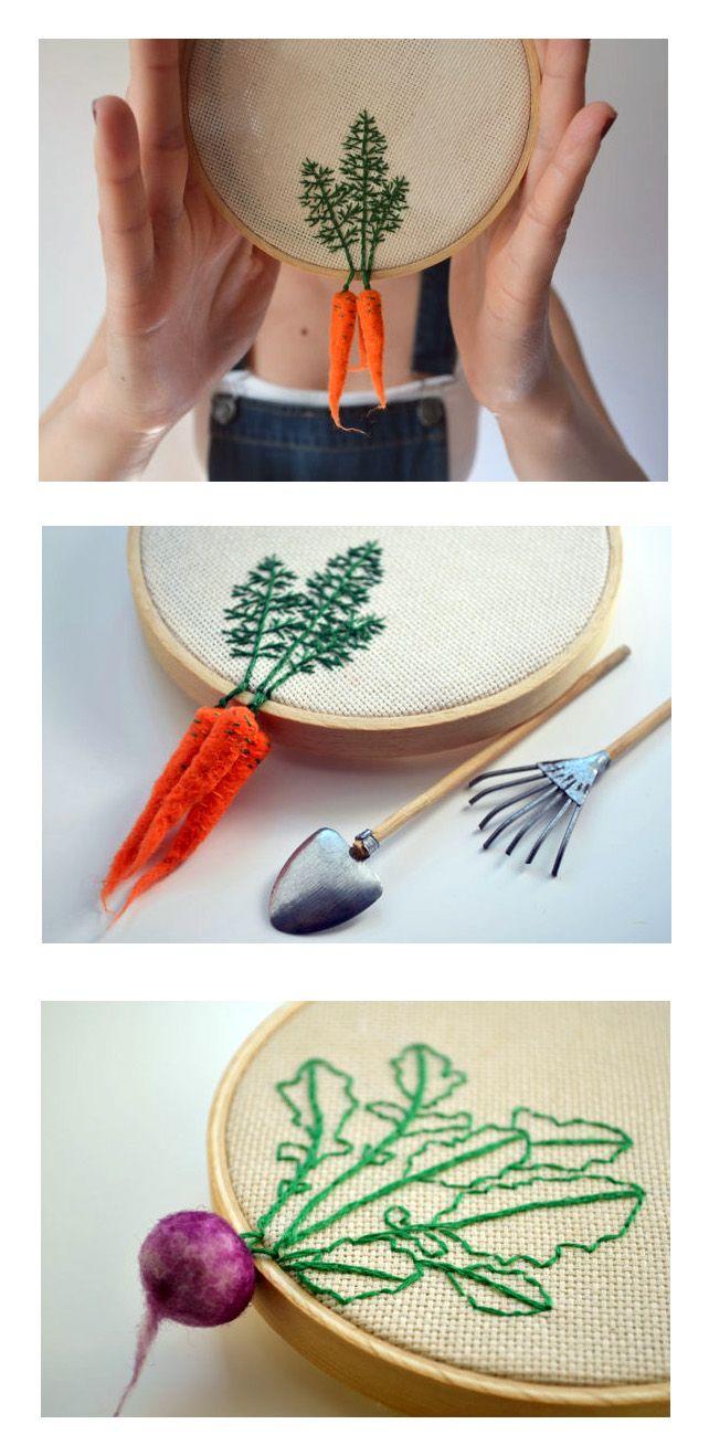 Embroidered Radish Hoop Art - leaves with hanging felted vegetables - Veselka Bulkan of Green Accordion