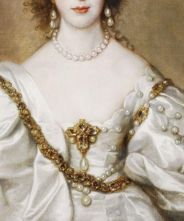 Queen Henrietta Maria, Detail. (1638) by Anton van Dyck.