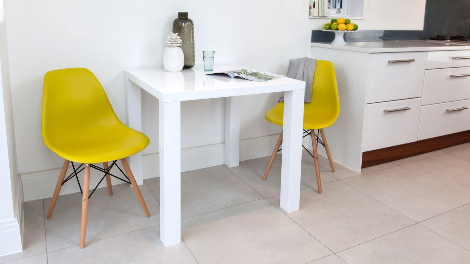 Small White Gloss Dining Table And Yellow Chairs  Angel Flat Stunning Contemporary Kitchen Tables Design Ideas