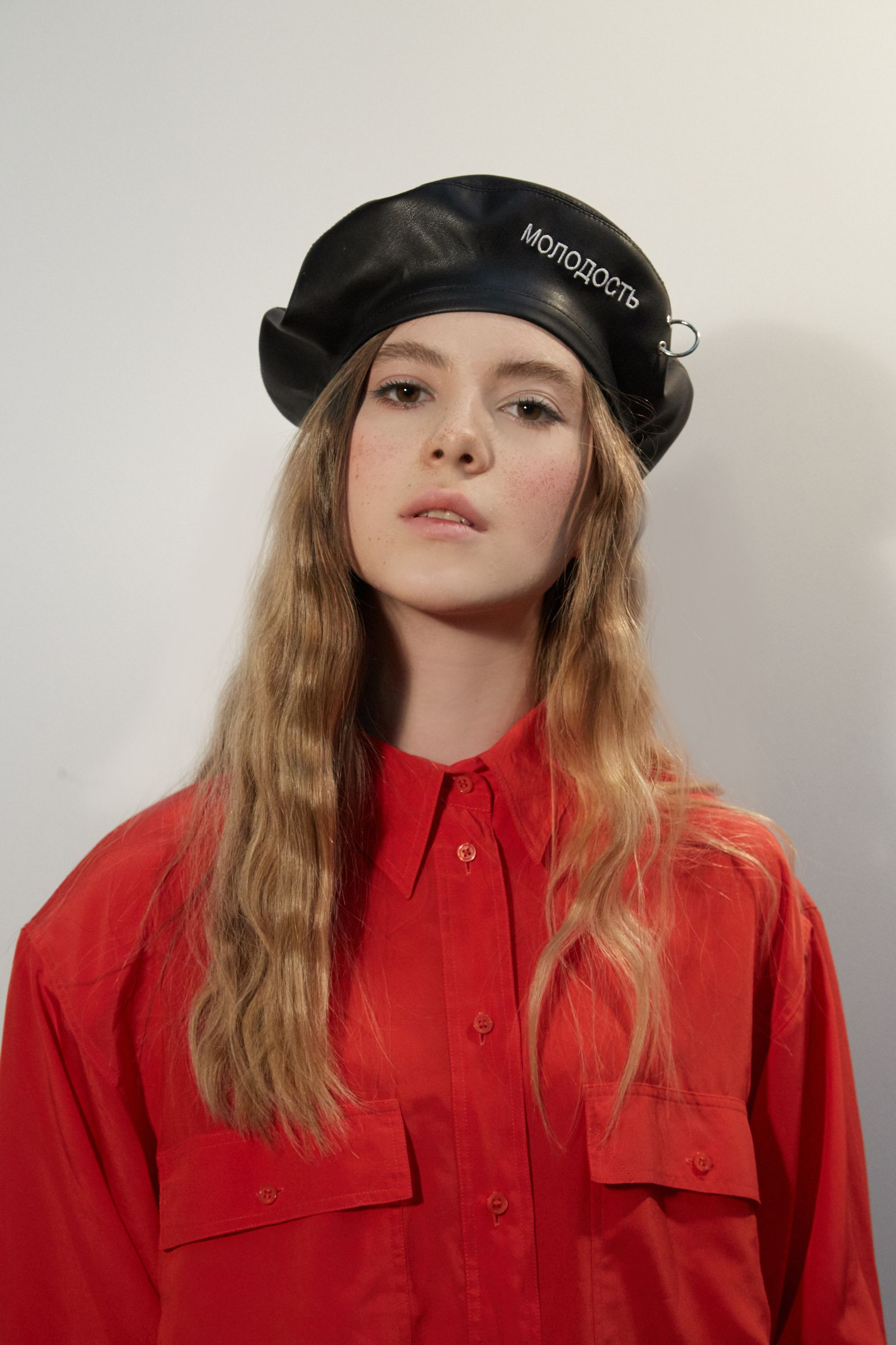 f4010d9a26e81 JANE Leather beret with embroidery and piercing