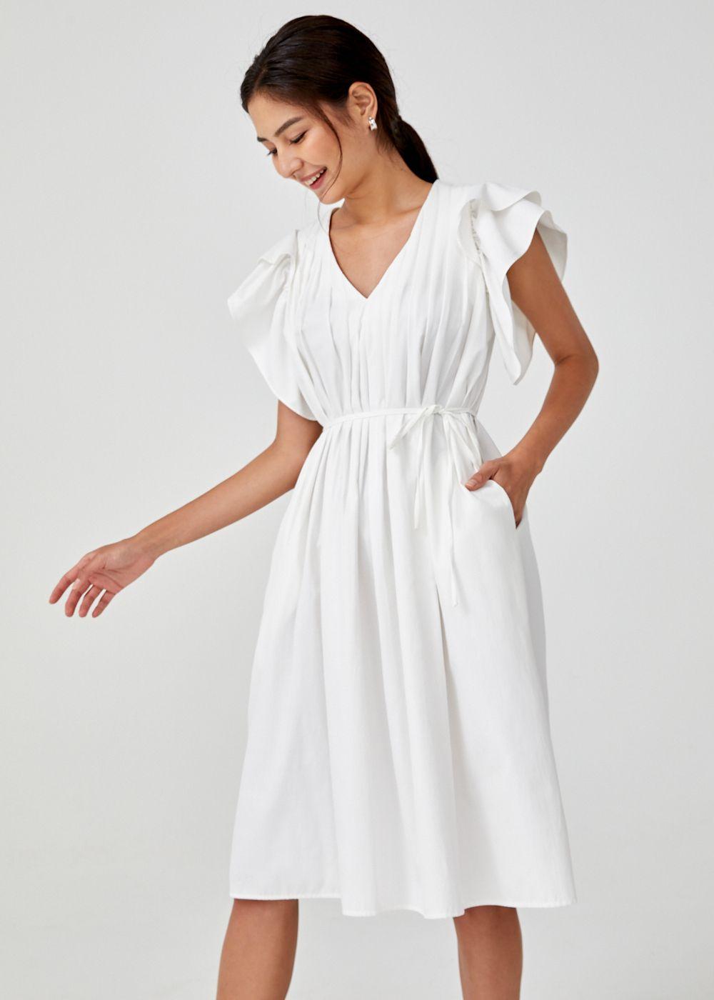 Rhea Pleated Ruffle Trapeze Dress Dresses Trapeze Dress Ruffle Dress [ 1400 x 1000 Pixel ]