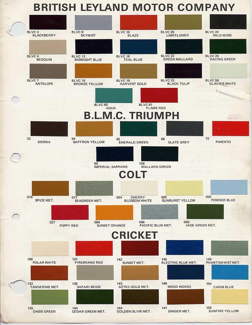 Car paint colour - Bmc Bl Paint Codes And Colors Tech Library The Austin Healey Experience