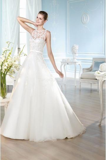 A-linie Romantische Schöne Brautkleider aus Organza mit Schleppe ...