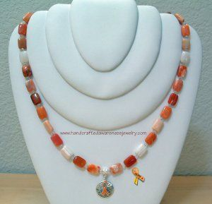 CRPS/RSD Orange Botswana Necklace--square item# OBNS  Price: $41.00