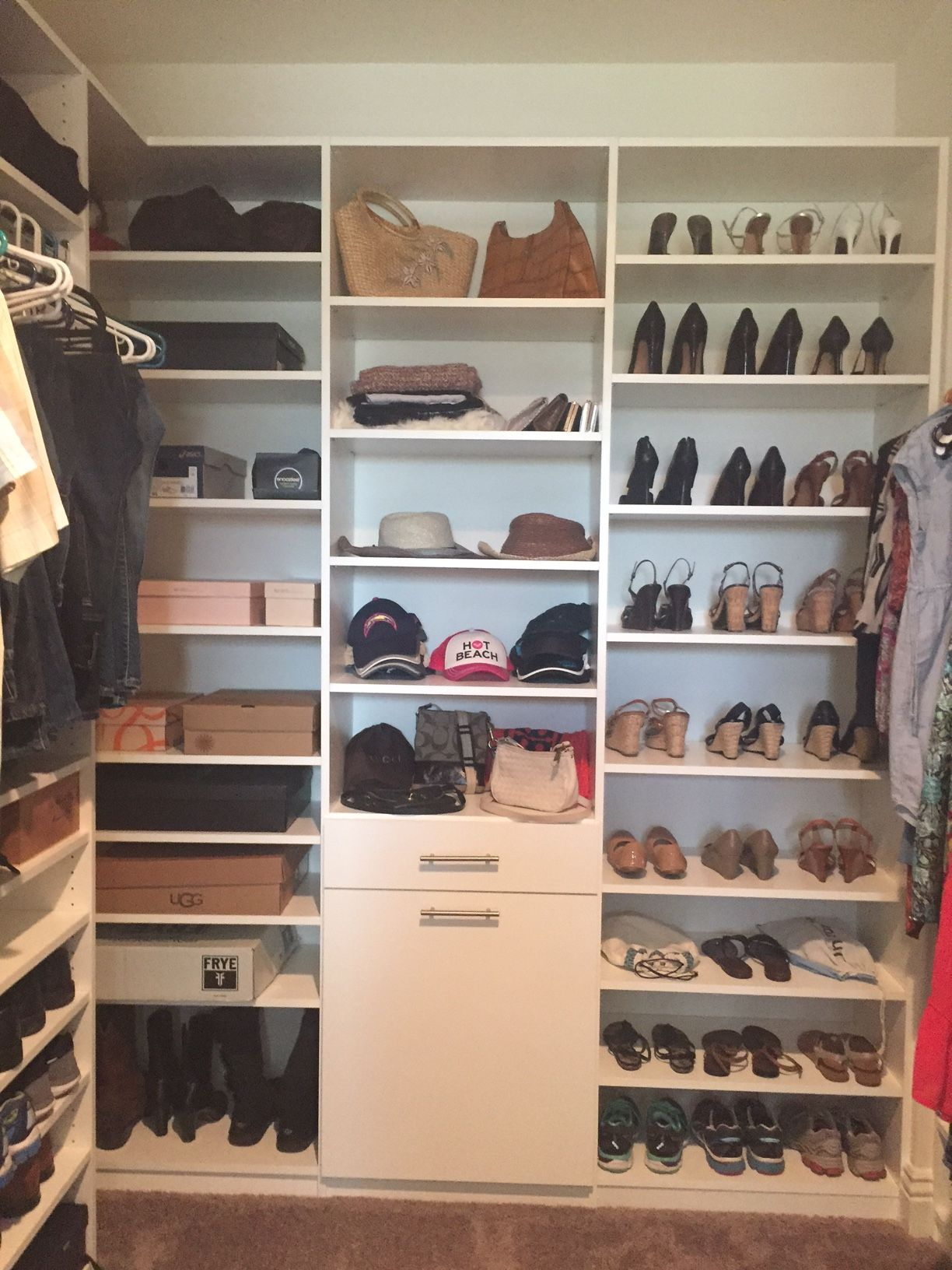 Walk In Master Closet With Double Hang And Hidden Hamper. Plus Top To  Bottom Shoe Shelves For All Your Shoes Ladies! #closet #custom #walkin  #masterclsoet ...