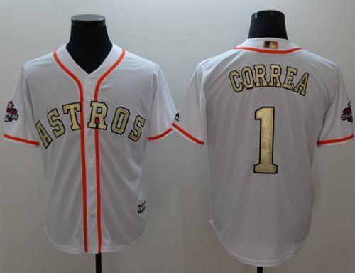 e8833655b Astros  1 Carlos Correa White 2018 Gold Program Cool Base Stitched MLB  Jersey