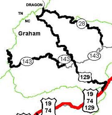 Tail of the Dragon at Deals Gap, motorcycle and sport car two lane Deals Gap Map on