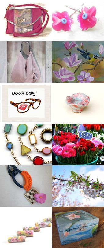 Pink Flowers by Grace on Etsy--Pinned with TreasuryPin.com