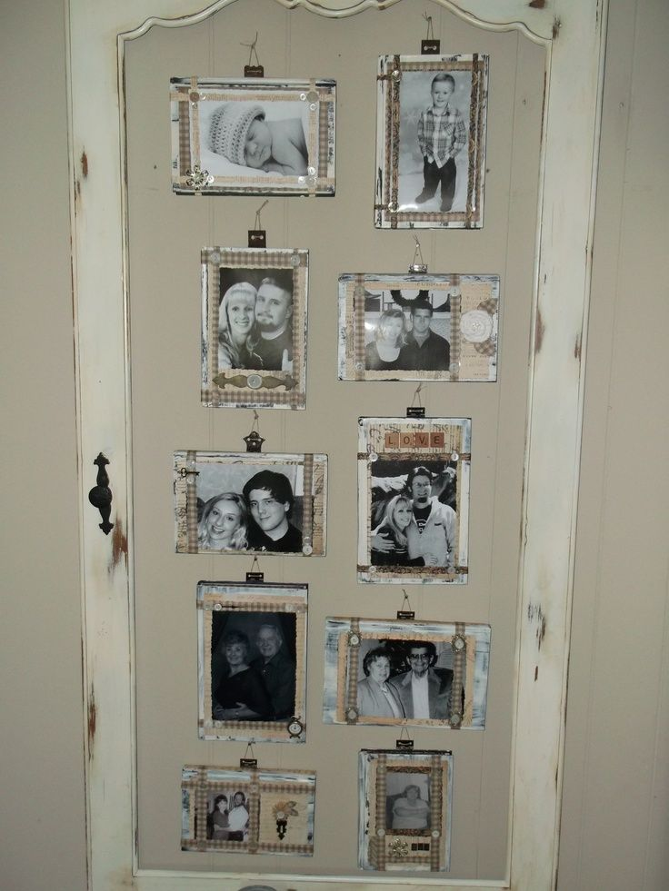 Photo Display Using An Old Door Frame Old Book Covers And Hinges