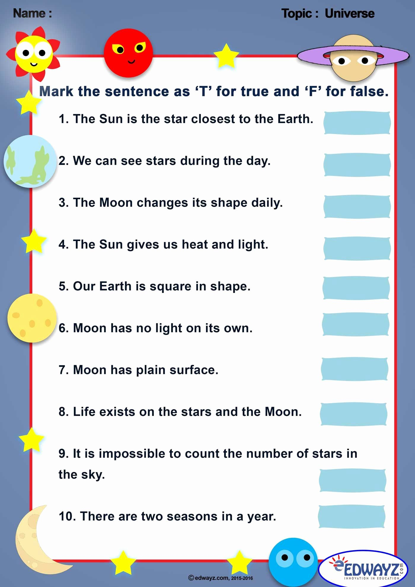 Worksheet Universe Kindergarten In