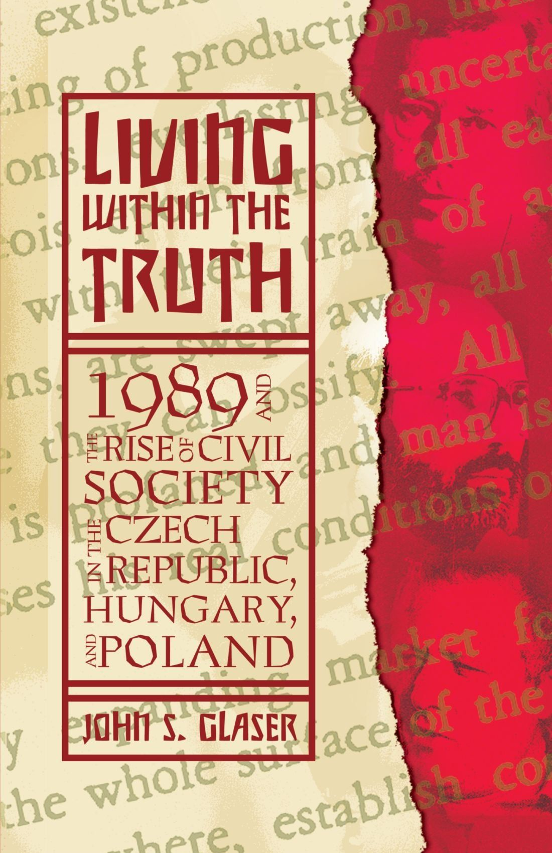 P22 Preissig fonts on the cover of Living Within the Truth: 1989 and