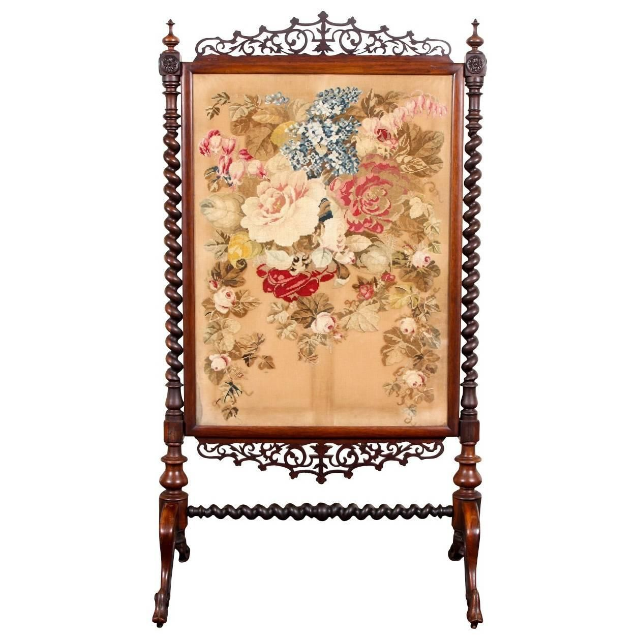 Antique Rosewood And Needlepoint Fire Screen For Sale At 1stdibs