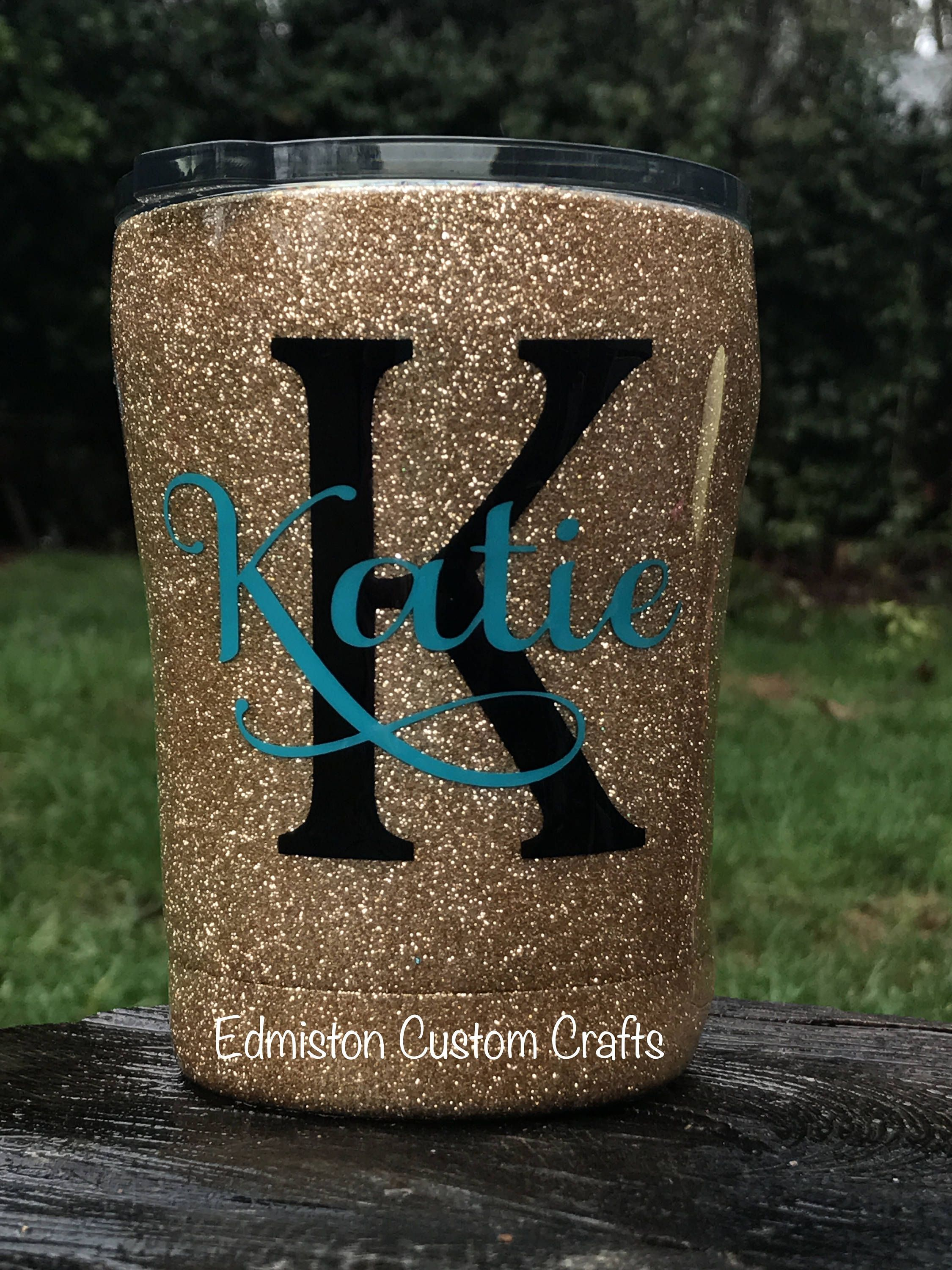 Gold Glittered 10oz Stainless Steel Tumbler Personalized Cup Monogram Name Cup Kid Size Cup Toddler Tumbl Bricolaje Y Manualidades Manualidades Creatividad