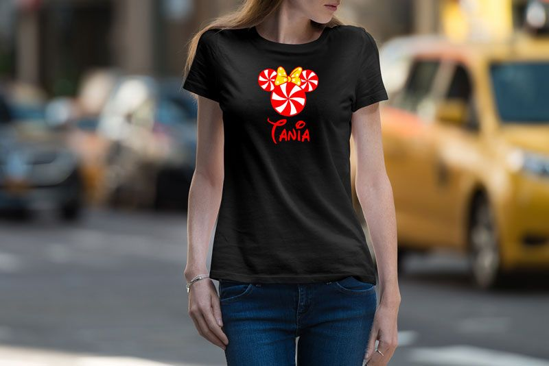 Playera Mujer Minnie Caramelo  23000 Playera con diseño Minnie Caramelo 100 Algodón Con Silueta para Dama Cuello Redondo Manga Corta Estampado con vinil tex...