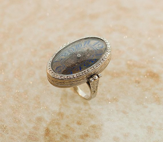 1920s Watch Ring 18k White Gold Watch Ring by SITFineJewelry