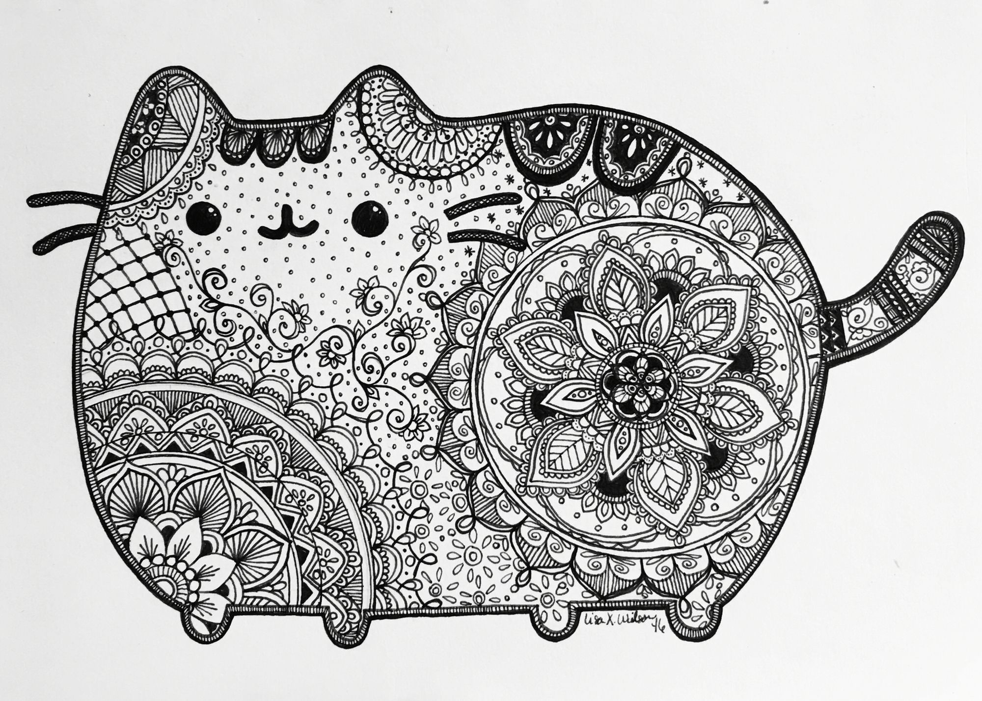 Pusheen Inspired art Zentangle