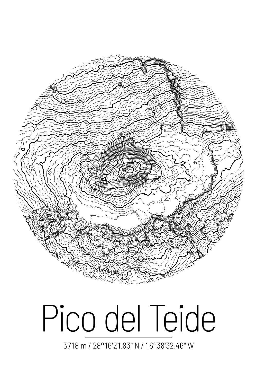 Pico Del Teide Topografische Design Landkarte Poster In 2020 Landkarten Poster Landkarte Topografische Karte