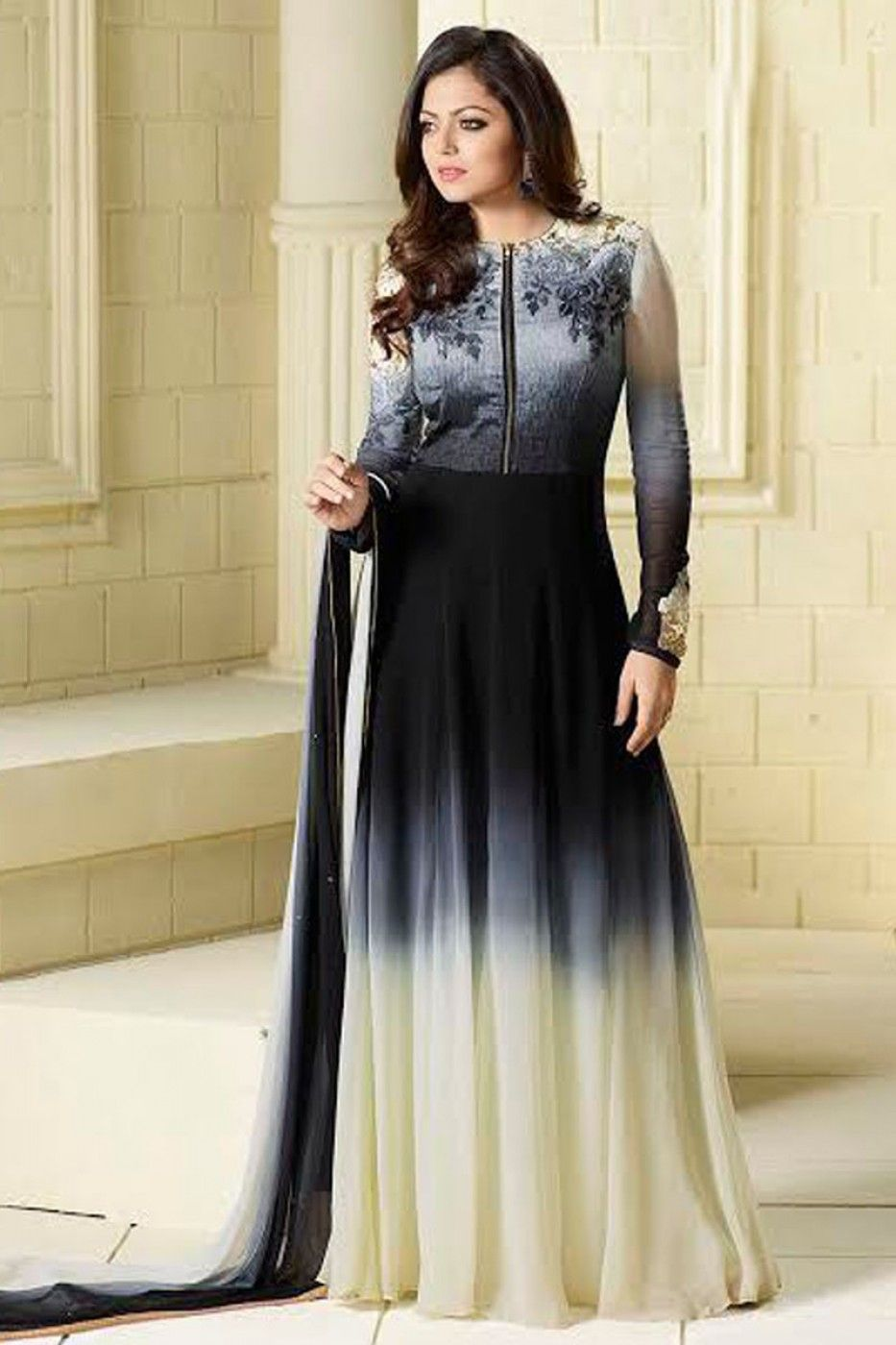 fe49b96c30 Grey and Cream Party Wear Designer Drashti Dhami Shaded Anarkali ...
