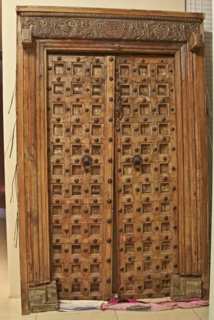 Lovely carved wood and iron double door from india very for Home front door design indian style