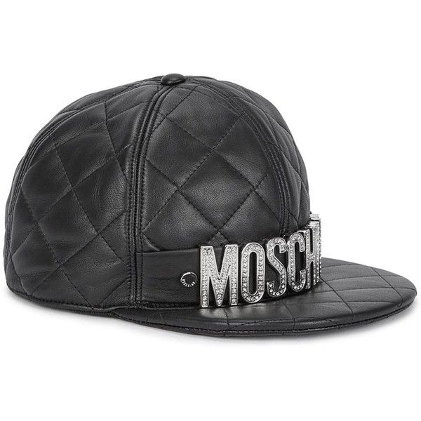 acca445e3f6 Womens Caps Moschino Black Quilted Leather Cap ( 590) ❤ liked on Polyvore  featuring accessories