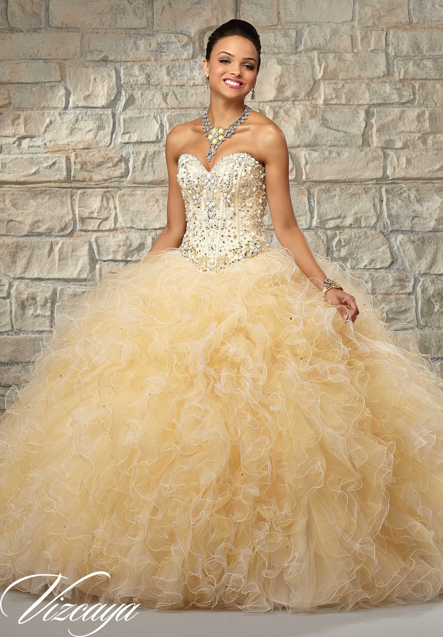 9bf63ca8d4f Quinceanera Dress 89024 Two-Tone Ruffled Tulle with Beaded Bodice Cream