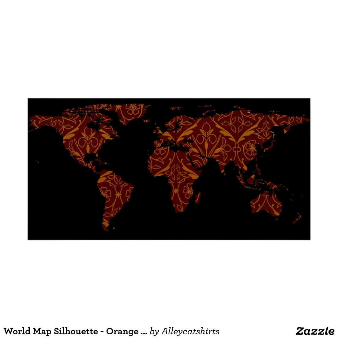 World map silhouette orange red floral patten poster world map silhouette orange red floral patten poster gumiabroncs Gallery
