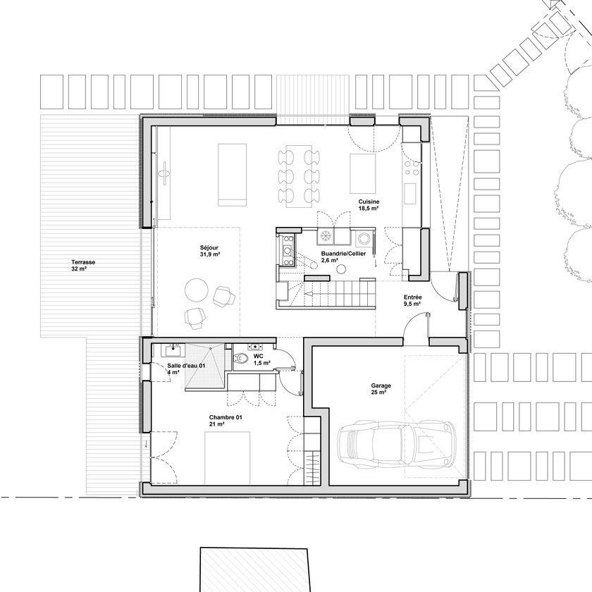 Avenier \ Cornejo - Maison 2G - Plan du RDC Architecture_plans