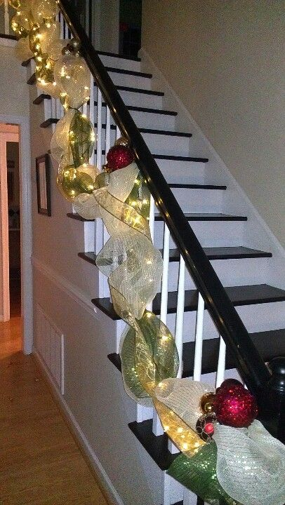 Lighted Deco Mesh Garland For The Banister Christmas