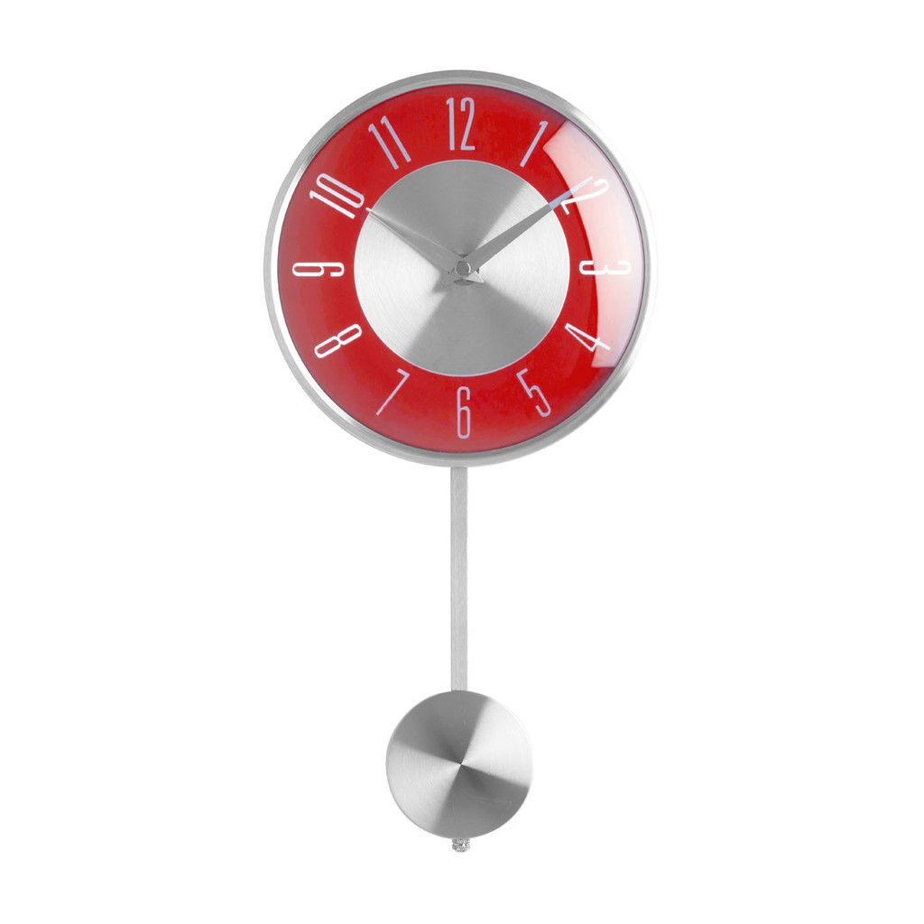 Wall clock pendulum silverred face clocks pinterest red wall clock pendulum silverred face amipublicfo Image collections