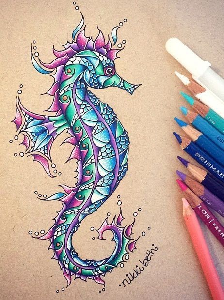 Seahorse Drawing In Coloured Pencil Color Pencil Drawing Pencil Drawings Seahorse Drawing