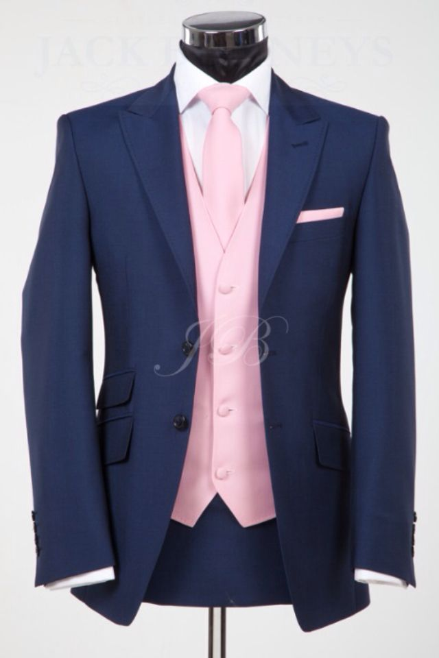 Blue and Pink 3 piece Suit. Could also match the vest with groomsman ...