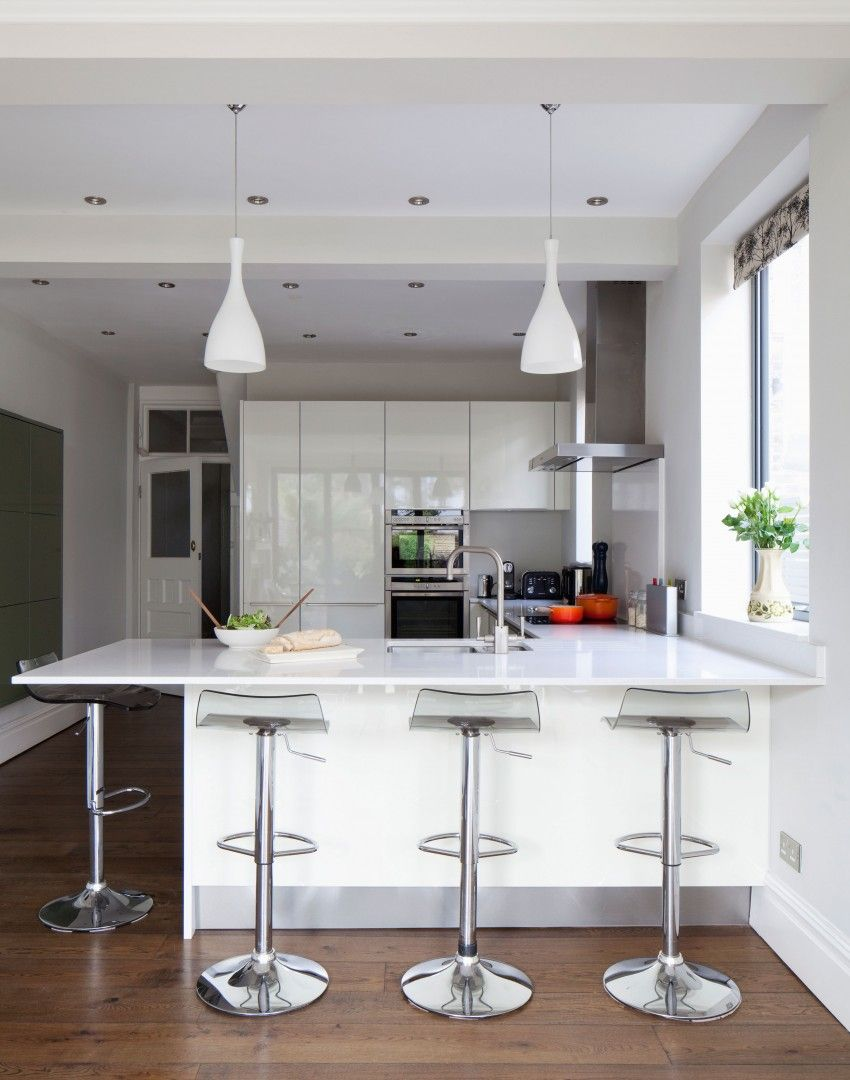 Modern White Kitchen With Hi Gloss Units And Breakfast Bar