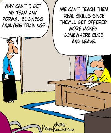 Humor - Cartoon Business Analysis Training? Work is a 4-letter - business analysis