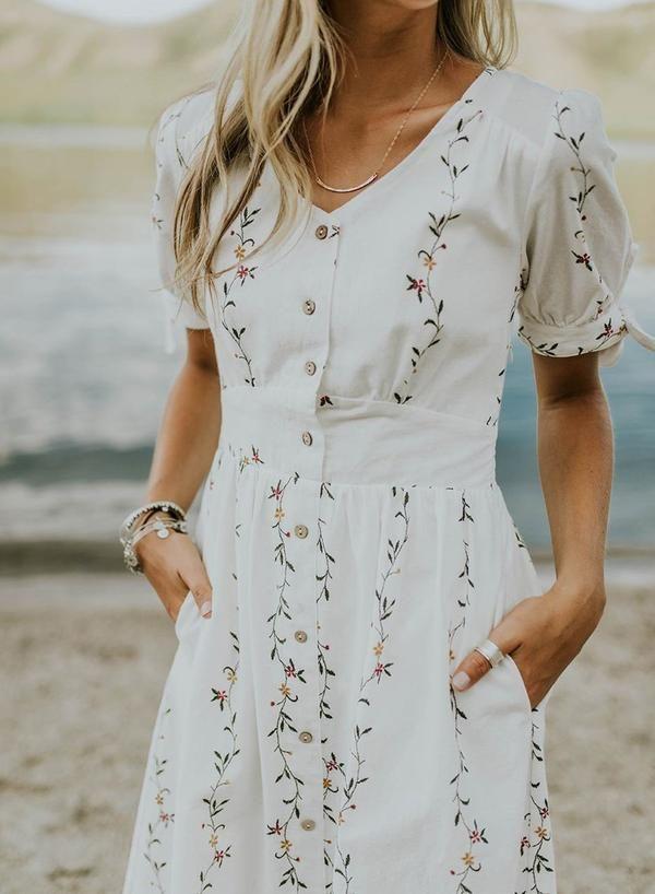 Sweet Short Sleeve Floral Dress