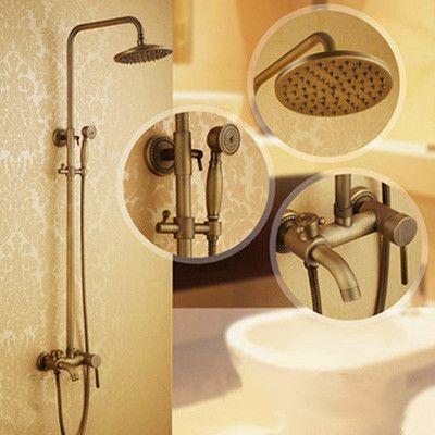 8 Inch antique brass shower faucet in wall shower set bathroom rain shower