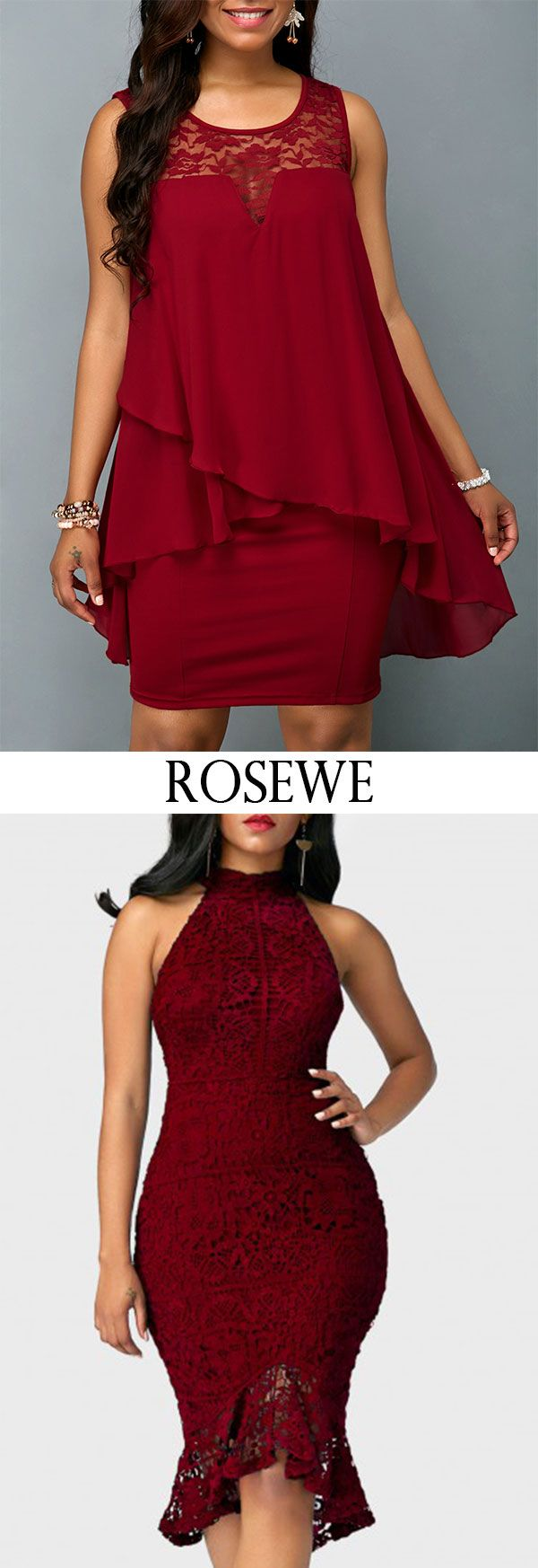 8e9bf7f5b4f Wine Red Overlay Embellished Lace Panel Chiffon Dress. Rosewe chiffon casualstyle