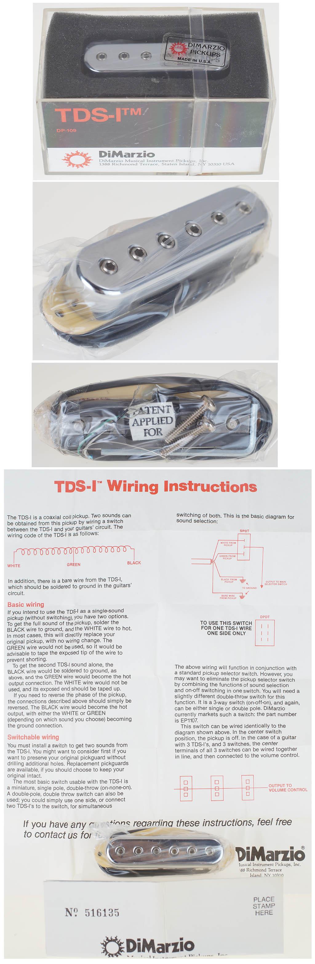 Dimarzio Pickup Single Coil Strat Tds 1 Dp 109 Pickups New Sealed Wiring Schematic Ebay