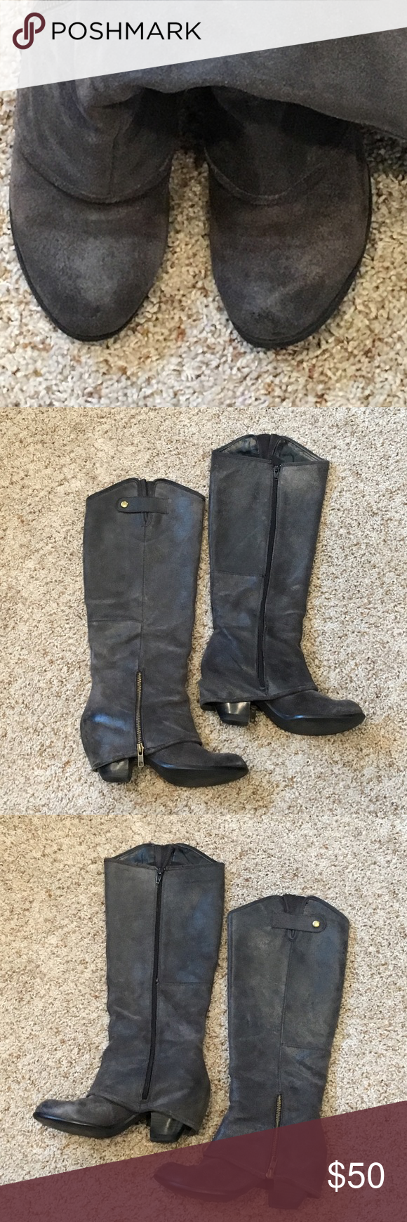 """Fergie Ledger Too Boot in Graphite These dark grey nubuck leather boots have been well loved, but alas, need to go. They have a full zipper, 2-1/2"""" heel height, 15-1/2"""" shaft height on the inside (17-1/2"""" on the outside), and approx. 15-1/4"""" circumference at the calf. Signs of wear on the back of the right boot and where the short zipper rubs on the leather (you would never have it open so people wouldn't see it - just wanted to show you-pic #4). Fairly new heel tips. Price reflects wear…"""