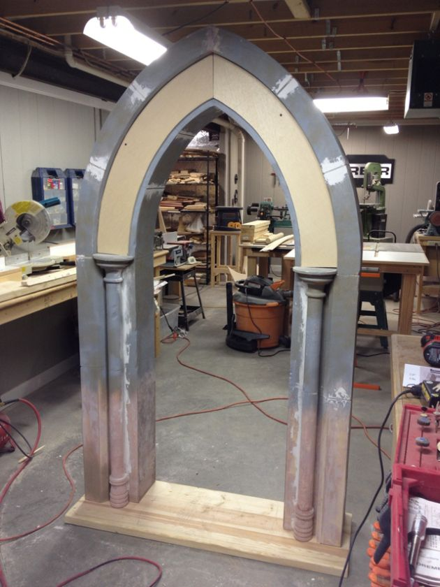 OLD DOOR - Archway use automotive filler / bondo to add 3D texture/grout lines/cracks
