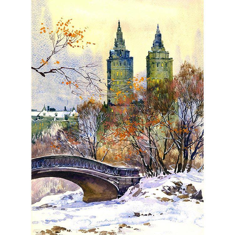 Watercolor New York: Central Park West Watercolor Painting By Roustam Nour Fine