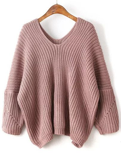 Shop Pink V Neck Drop Shoulder Oversized Sweater online. SheIn ...