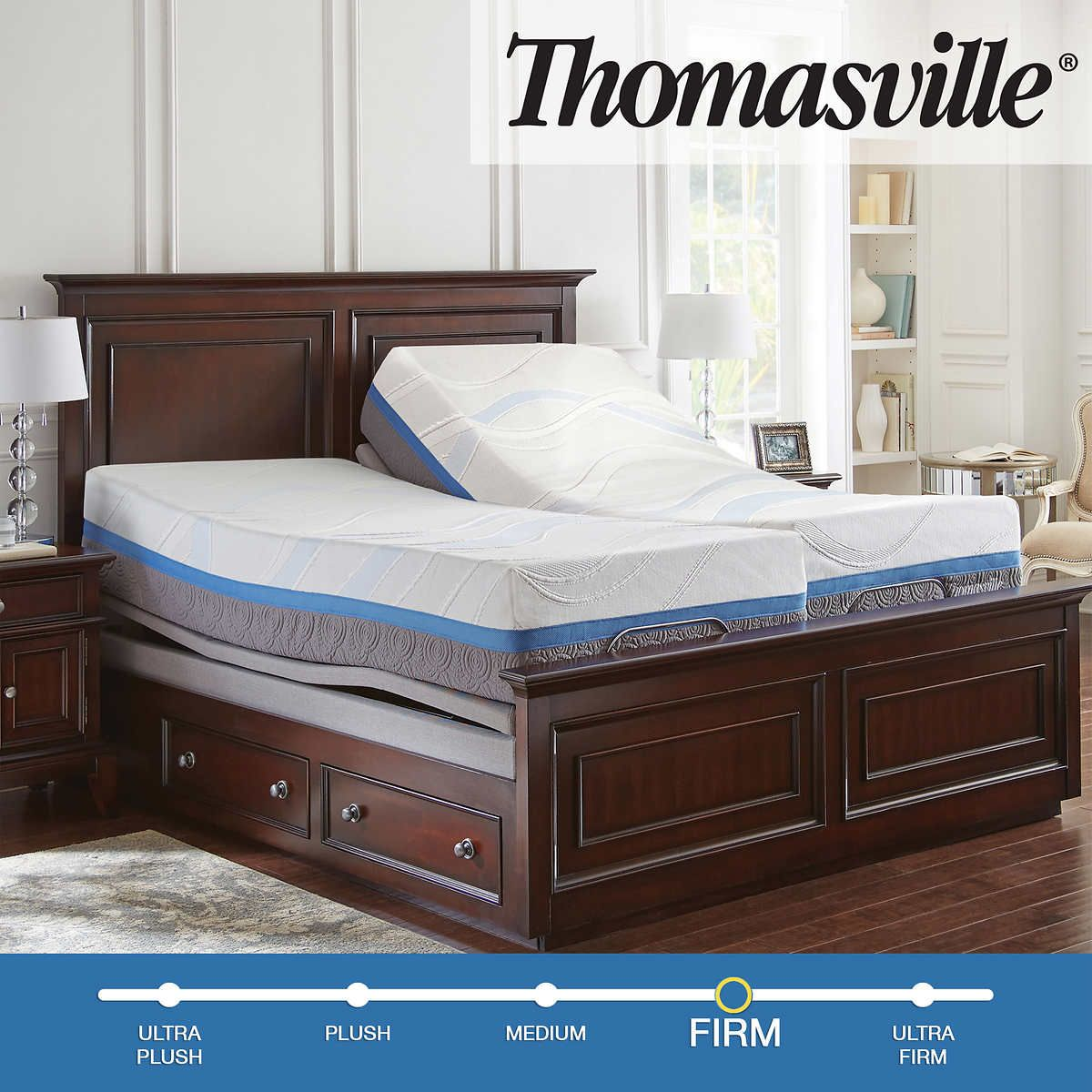 "Thomasville Precision Gel 14"" Memory Foam Split CalKing"