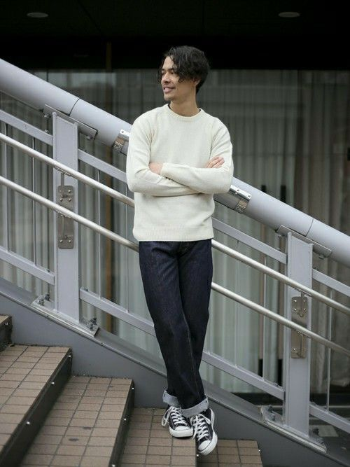 ラム天竺クルーネックニット・オフホワイト/MEDIUM    FirstDenime【Regular