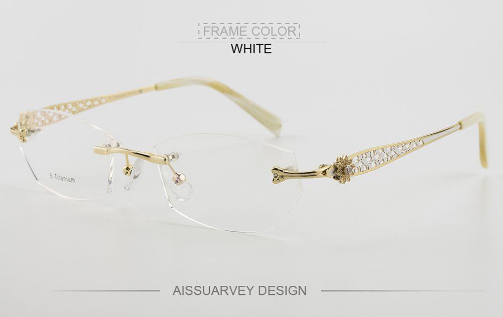e6ef8fc231b4 Rimless eyeglasses frames women glasses fashion optical prescription  titanium diamond rhinestone hollow brand designer eyewear