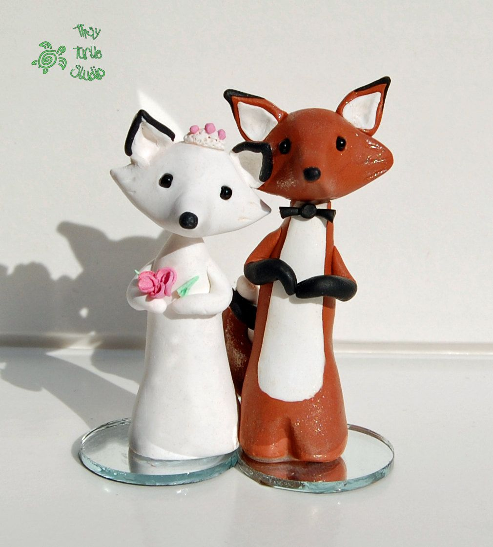 Polymer Clay Foxes Wedding Cake Topper | Polymers, Cake and Cas